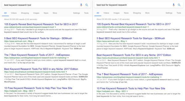 RankBrainの検索キーワードの理解と検索結果表示