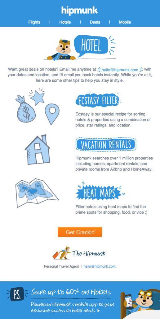 HipmunkのEメールデザイン例