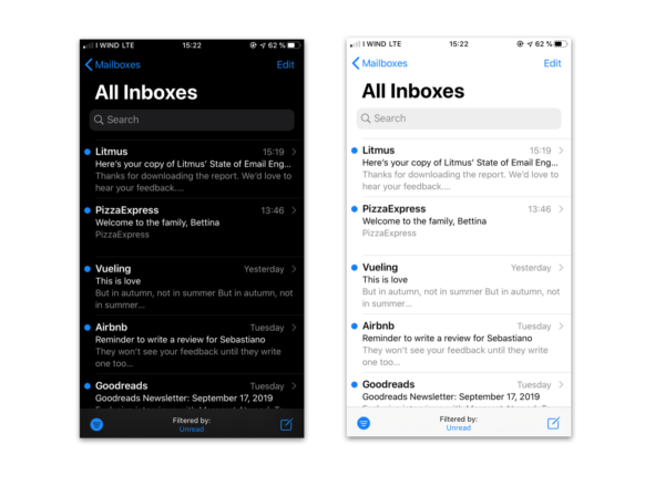 The iOS Mail Inbox in iOS 13 in Dark and Bright Mode
