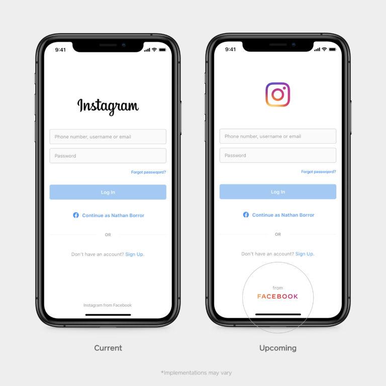 Facebookの新ロゴを採用したInstagramのログイン画面
