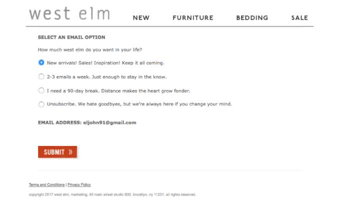 Eメール購読者が配信頻度を選択できるパーミッション画面