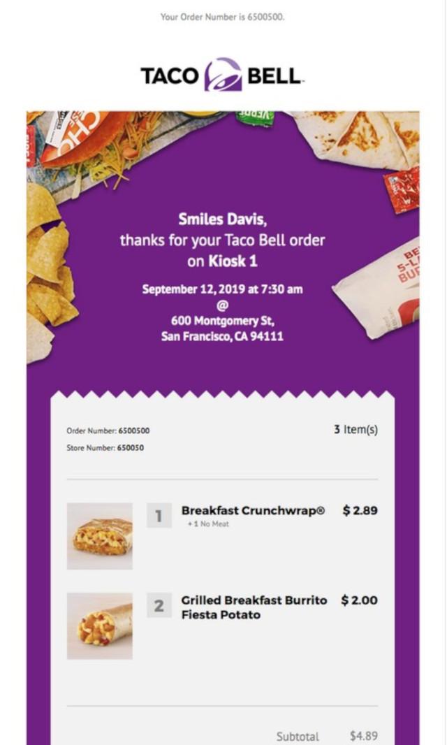 Taco BellのEメールマーケティングとデザイン事例