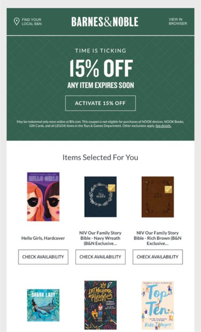 Barnes & Noble社のEメールデザイン例