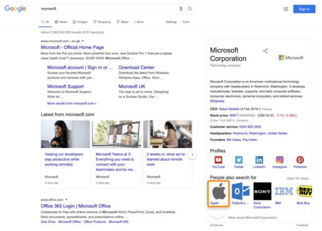 マイクロソフトのナレッジパネルの事例