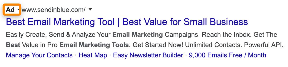 有料広告の検索結果表示
