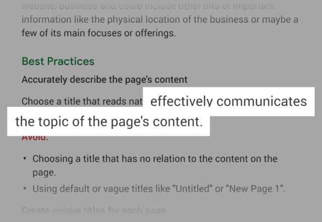タイトルタグはページの内容を伝えることに集中すべき