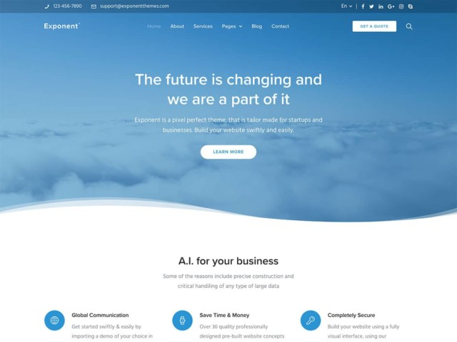 WordPressコーポレートサイトテーマ・企業サイトテーマ「Exponent」