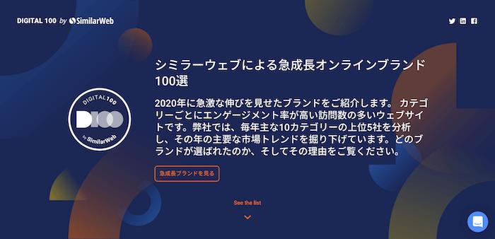 シミラーウェブ、急成長しているデジタルブランドTOP100を発表