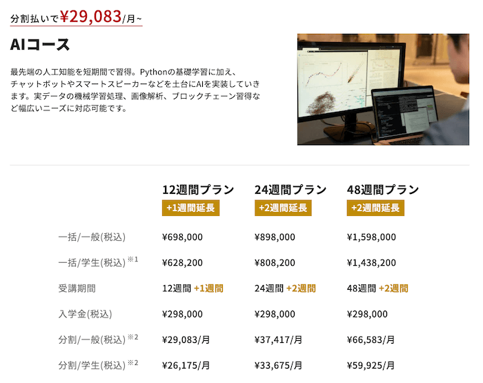 侍エンジニア塾 AIコースの料金とプラン