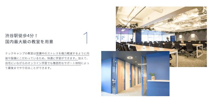 メリット③:テックキャンプ Webデザイナーでは、東京・渋谷に教室を用意しており、Webデザインスクールにおいては国内最大級の規模